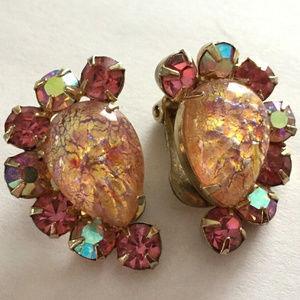 Vintage Kramer Pink Art Glass Rhinestone Earrings